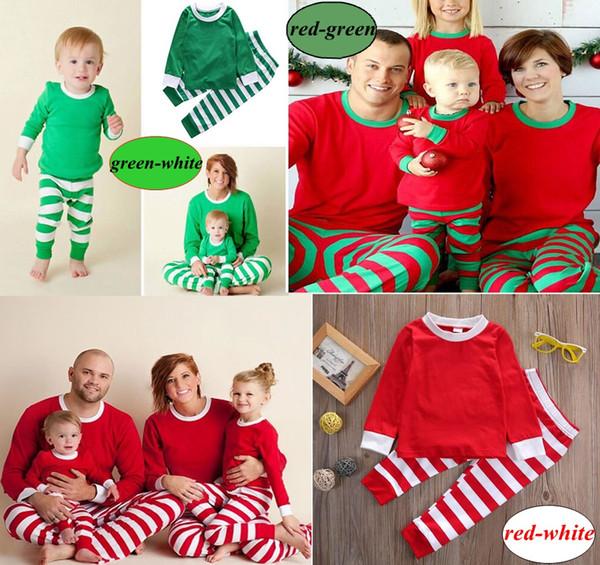 2020 Noël Enfants adultes Matching Noël Cervidé Striped Pajamas vêtements de nuit Pyjama bedgown 3colors sleepcoat de Nighty choisir