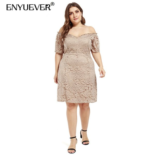 Enyuever Khaki Lace Dress Plus Size Women Clothes Summer Off Shoulder Short  Sleeve Elegant Formal Evening Party Dress Vestidos Long Dress Club Dresses  ...
