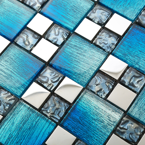 синий стеклянная мозаика плитка для стен Настил полов асфальтоукладчик плохой мозаики шпона
