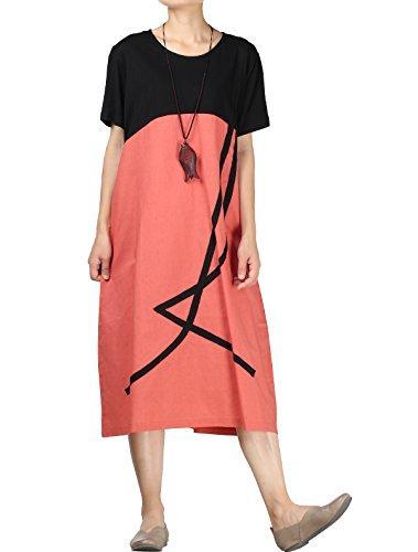 2fc2f4667b0d Mordenmiss Women S Color Block T Shirt Dress Cotton Linen Summer ...