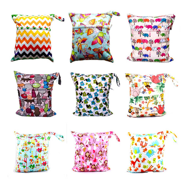 2019 New 16 colors kid Wet Dry print cartoon Diaper Bag with Snap Handle Infant Travel Nappy Organizer Double Zipper Waterproof Tote Bag