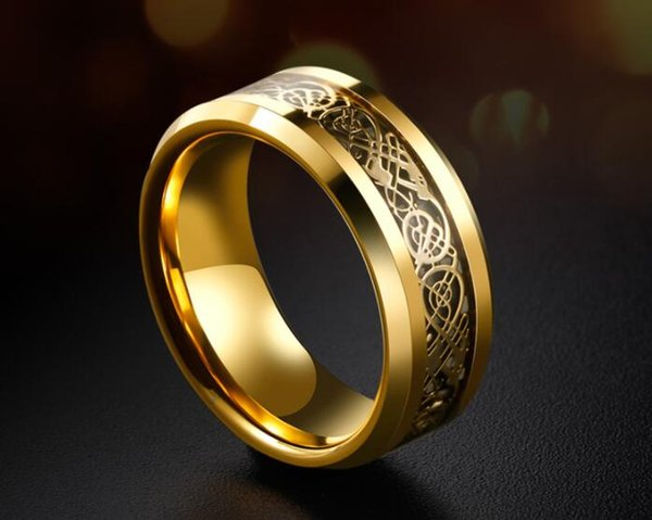 8mm Tungsten Ring 18K Gold Plated Men Ring With Golden Dragon Trend Accessories Index Middle Finger Wedding Birthday Gift Jewelry Size6-11