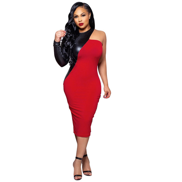 Women Clothes PU Leather Party Dress Patchwork One Shoulder Evening Women Sexy Sheath Bodycon Midi Club Dress Fashion Vestidos Outfits
