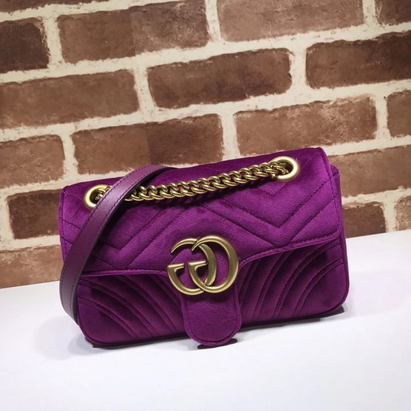 2019 Top Quality Brand design Letter Metal Buckle V-shaped Shoulder Chain Bag Velvet Leather Woman 446744 Crossbody Bag