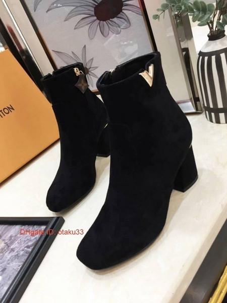 Botas de moda de las señoras cortas de metal con botas de cuero elásticas 2019 otoño invierno y clásico partido Mujeres S Zapatos estilo coreano 09174