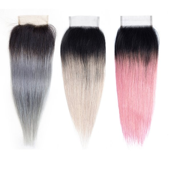 Ombre Grey 4x4 Lace Closure Brazilian remy Human Hair Extension Color 1B Pink Peruvian Indian Malaysian Straight Human Hair 12-14 Inch