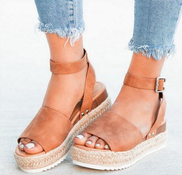 Büyük boy kadın sandalet kama ayakkabı kadın sandalet yaz yüksek topuklu 2019 parmak arası terlik kadın sandalet 35-43