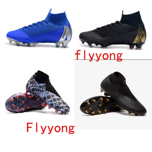 Original Phantom Vision Elite DF FG AG TF Botines De Fútbol Zapatos De Fútbol De Cuero Calcetines Para Hombre Fantasma Sin Cuerda VSN Negro Lux Botas