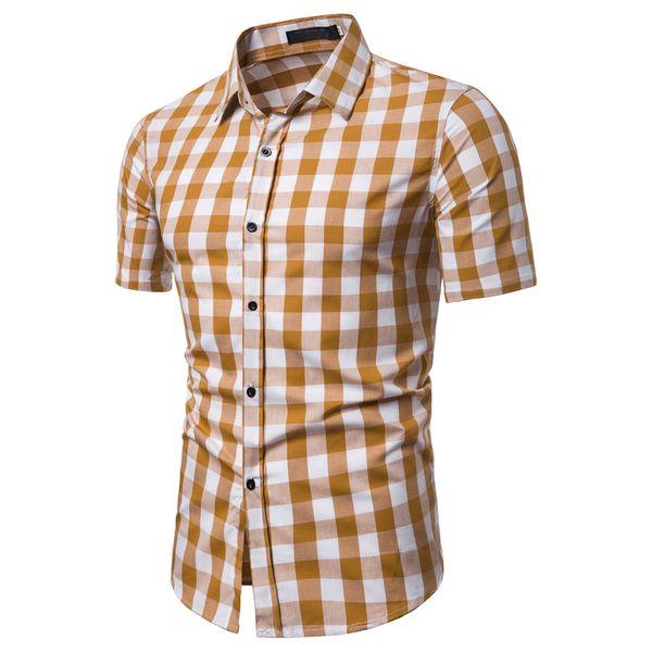 Plaid Shirts Men Spliced Short Sleeve Shirt Casual Summer Male Beach Streetwear Tops Asian Size Chemise Homme Manche Court 2#