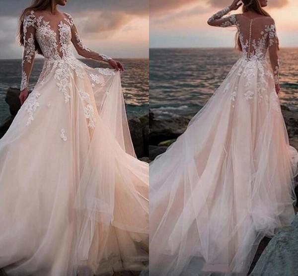 Vestido de novia de tul de playa de verano Apliques de encaje Mangas largas transparentes Vestidos de novia con espalda de ilusión Vestidos de novia bohemios