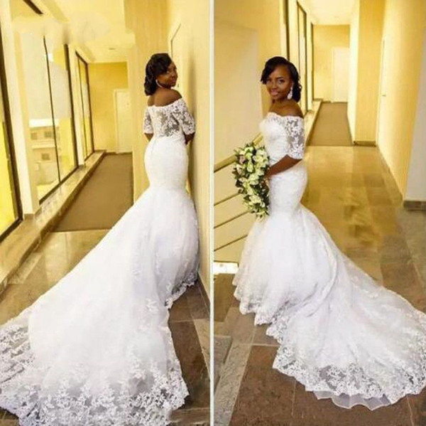 Graceful Off Shoulder Long Train Africa Mermaid Wedding Dresses 2019 1/2 Sleeve Plus Size Bride Dress Pure White Lace Wedding Gown