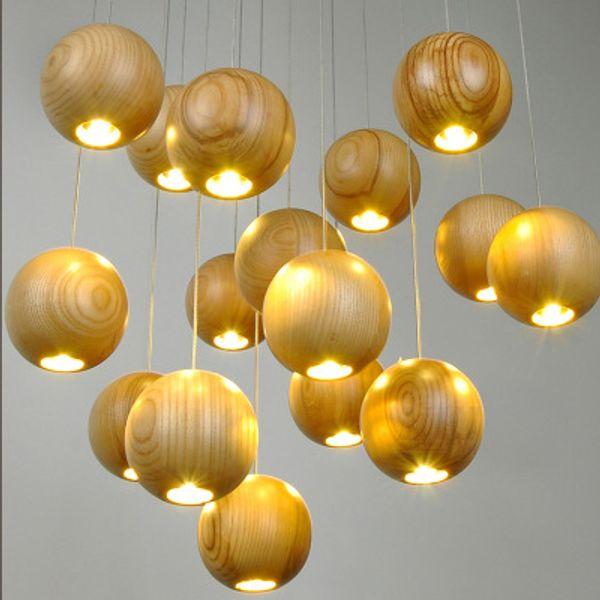 Nordic solid wood art dining room chandelier creative personality bedroom living room lamp study wood chandelier cafe spotlights