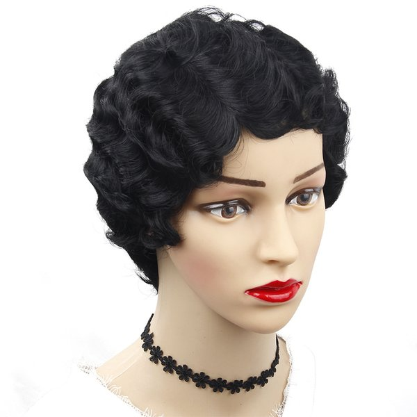 Black Short Curly Wigs Hair Heat Resistant Synthetic no Lace Wigs for African American Women Big Deep Ocean Wave Cosplay Wig 8inch