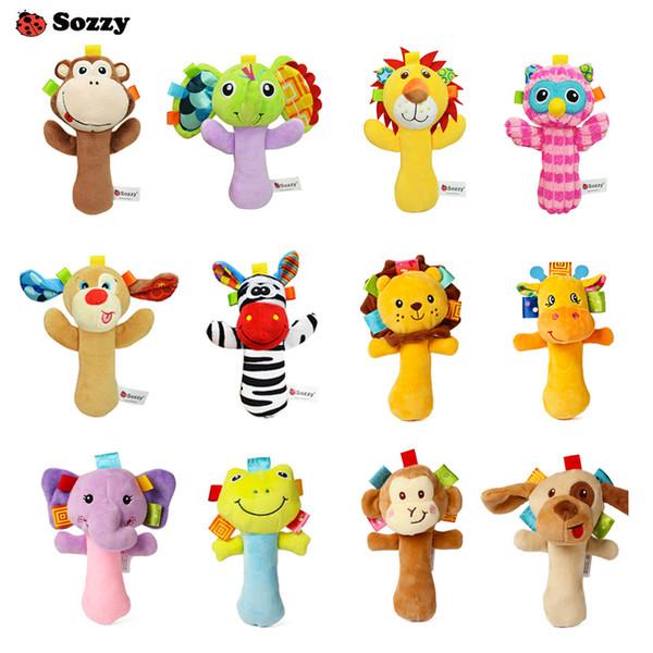 12 Стили Sozzy Lovely Плюшевые Чучела Животных Детские Погремушки Скрипучие Палочки Игрушки Колокольчики для Детей Новорожденный Подарок