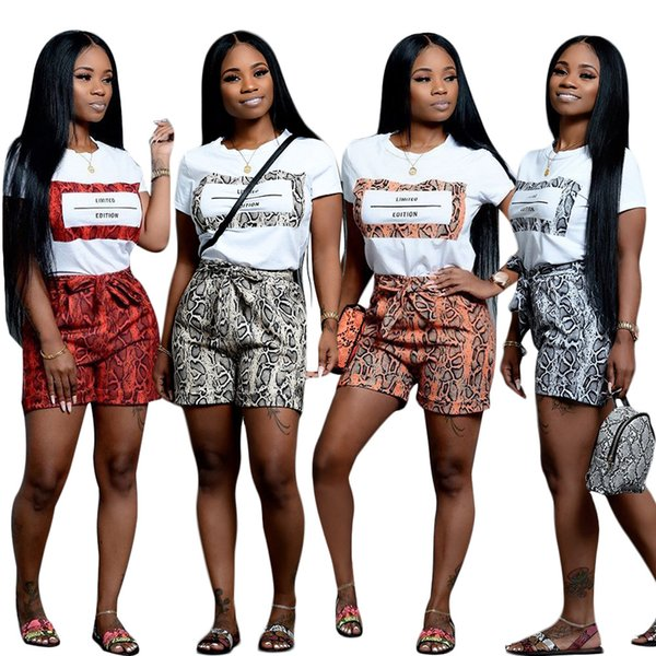 Newest Serpentine Skin Printing Short Sets Two Pieces Short Sleeve O Neck T Shirt and Shorts Casual Nightclub Outfits Summer 4 Color 2019