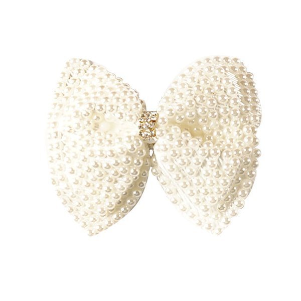 """2 Pcs/lot 3.5"""" White Rhinestone Bow For Girl Kids Cute Pearls Hair Bow With Clips Beads Hairgrip Hair Accessories"""