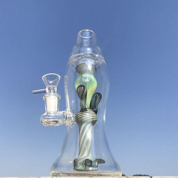 Venta caliente Lava lámpara de vidrio Bongs Heady Glass Grueso Bong único Aceite Dab Rigs 14 mm Tubos de agua conjuntos femeninos con un tazón de vidrio