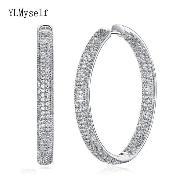 Top diametro 4 centimetri qualità grandi orecchini a cerchio gioielli bianco gioielli classici delle donne di trasporto veloce grande cerchio orecchino