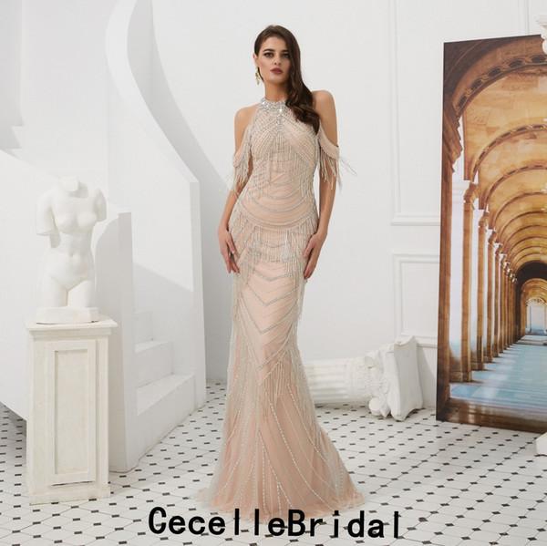 8d8110bd0 Blushing Pink Luxury Beading Mermaid Long Evening Dresses Halter Off the  Shoulder Women Sexy Elegant Evening