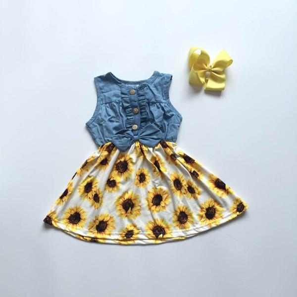 new baby girls children clothes cotton solid color sunflower Denim Blue ruffle dress boutique summer floral match accessories