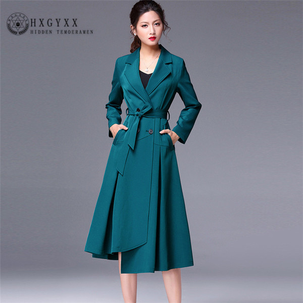 spring new over the knee long windbreaker women fashion skirt style solid color large size slim trench coat female qq008 - from $141.69