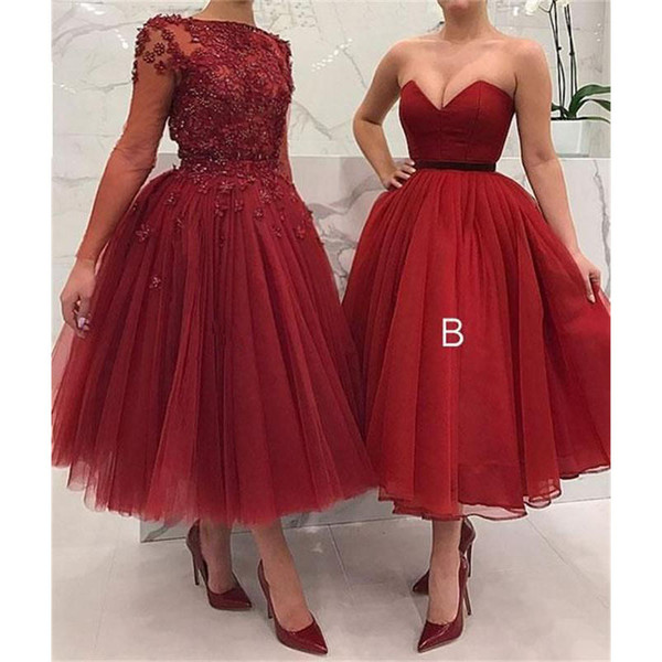 B Style Burgundy Red Ball Gown Prom Dresses 2019 New Sleeveless Tea Length Tull Simple Formal Evening Dress Party Gowns