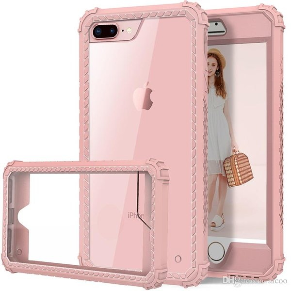 Aicoo Hybrid Heavy Duty Shockproof Full Body Protective Case With TPU PC 2 Layer Impact Protection For iPhone XS X 8 7 6S 6 Plus OPP Bag
