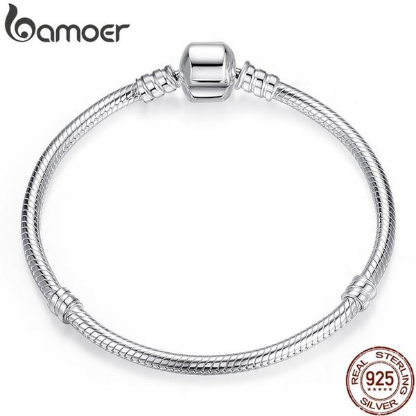 Bamoer Noel Satış Otantik 100% Kadınlar Için 925 Ayar Gümüş Yılan Zincir Bileklik Bilezik Lüks Takı 17-20 cm Pas902 MX190718