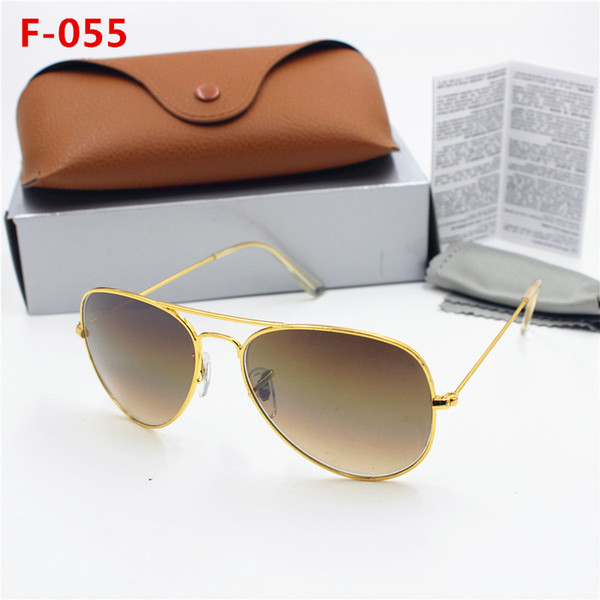 1pcs Hot Sale Mens Womens Pilot Gradient UV400 Sunglasses Designer Sun Glasses Gold Brown Blue Grey 62mm Glass Lenses Original Cases Box