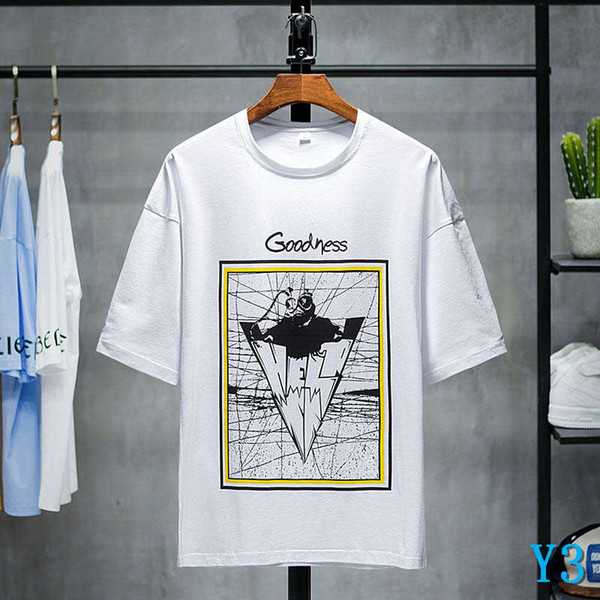 Men's T-shirts 2019 New Fashion Casual Simple Geometric Print Breathable Loose Thin Soft Shirts Cotton Blend Size M-3XLY3