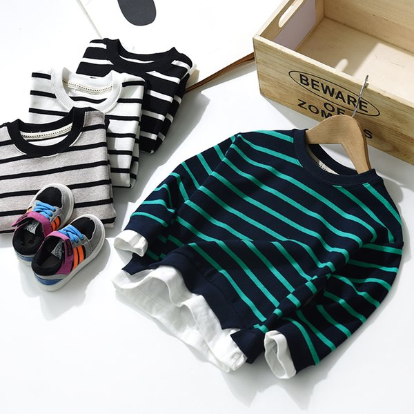 Striped Patchwork Fake Two Pieces Children T Shirts Teenage Boys 2019 Long Sleeve Cotton Sweatshirt Tops Kids Autumn Tee Clothes