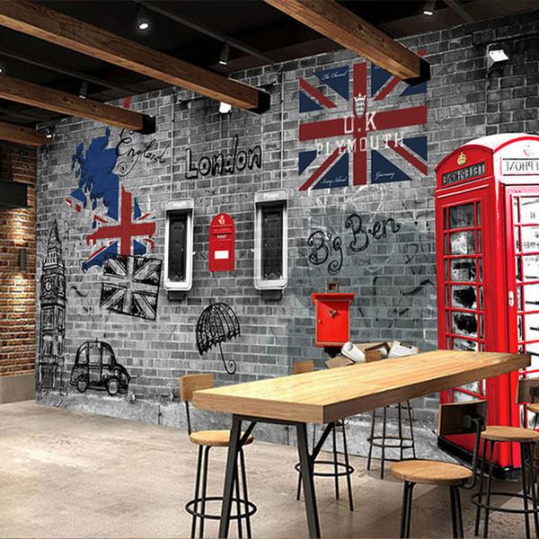 3D Duvar resmi Avrupa Tarzı Retro Kabartmalı Tuğla Duvar Kağıdı Kırmızı Otobüs Fresk Cafe Restaurant Kişilik Dekor Murales De Pared 3D