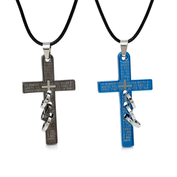 Hot Fashion Charms New Bible Holy Cross Three Round Stainless Steel Men Necklace Shellhard Christian Prayer Chain Jewelry Gift