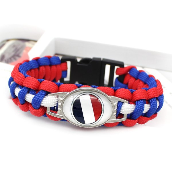 Trendy Glass Cabochon France National Flag Survival Paracord Charm Bracelet Unisex Simple Royal Blue Red White Umbrella Rope Bohemia Jewelry