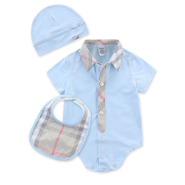 new infant boys romper set summer plaid lapel short sleeve baby jumpsuit +bib+hat 3pcs sets cute newborn onesie suits C5127