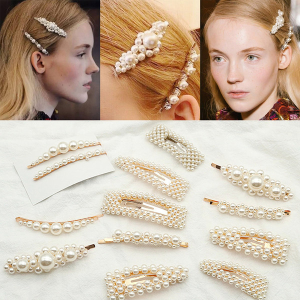 best selling Fashion Pearl Hair Clip for Women Elegant Korean Design Snap Barrette Stick Hairpin Hair Styling Accessories