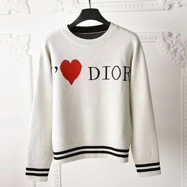 Brand de igner women weater knit 2019 autumn winter fa hion love heart jacquard round neck ca ual pullover jumper knitted top, White;black