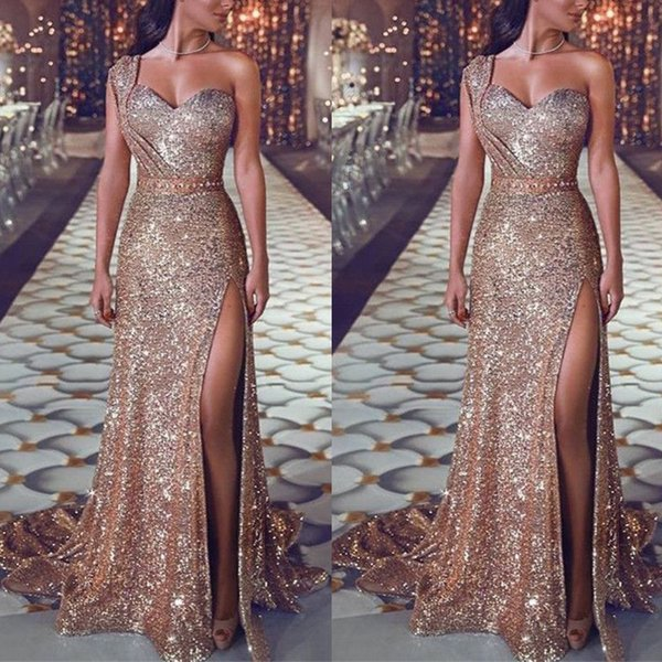 2019 Sparkly One Shoulder Sequin Mermaid Prom Dresses Ruched Split Beaded Waistband Party Gowns Sweep Train Plus Size Evening Gowns Robes