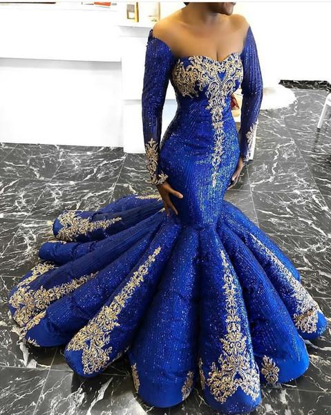 2019 Royal Blue Пром платье Нового Off плеча кружево блестка бисер Искорка вечерних платья Русалка Ruffles Black Girls платье мантий де soirée