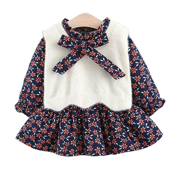 Knee Length Casual Dresses Knitted Vest Cute Fall Outfits 2 Piece Sets Baby Girls Clothes Korean Style Floral Dresses for Girls 18090802