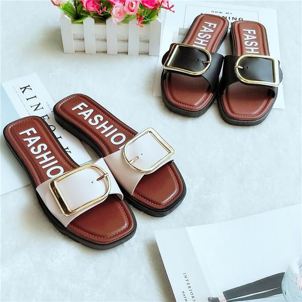 Verano nuevos zapatos para mujer estilo casero botón rojo versión coreana de la tendencia de sandalias zapatos con zapatillas de moda fuera