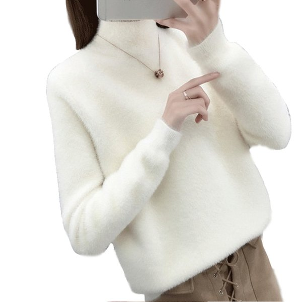 Half-high Collar Bottom Sweater Pullover Knitted Sweater