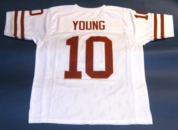 Cheap retro #10 VINCE YOUNG CUSTOM TEXAS LONGHORNS WHITE JERSEY Mens Stitching College Size S-5XL Football jerseys NCAA