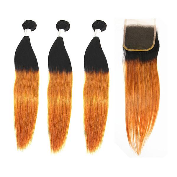 Prolunghe per capelli lisci con pelo 4x4 Chiusura senza peli Parte brasiliana 100% fasci di capelli umani Colore T27 8-28 pollici