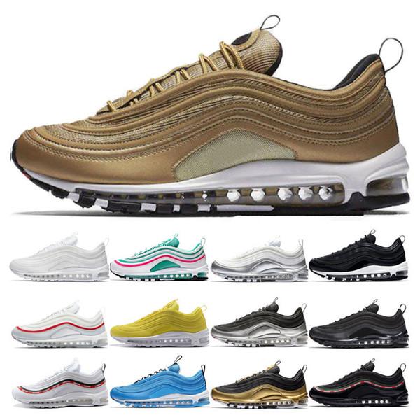nike air max 97 Vente chaude Métal Or Hommes Chaussures De Course Femmes luxe Gymnase rouge jaune Triple blanc noir Bleu Héros UNDEFEATED Formateur Sport En Plein Air chaussures
