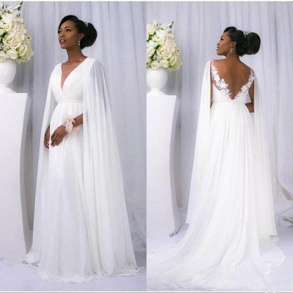Beach Boho Wedding Dresses with Cape 2019 A Line Lace Chiffon V-neck Backless African Summer Dresses Bohmiean Country Pregnant Bridal Gowns
