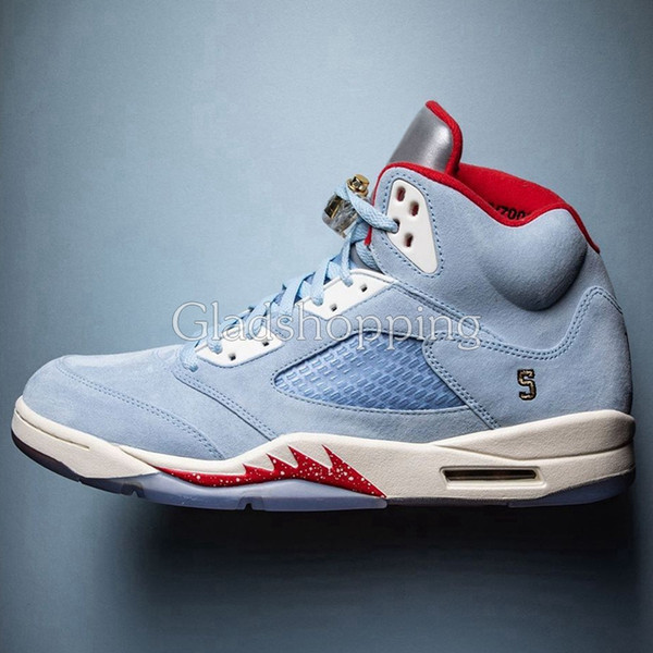 online for sale wholesale price super popular Trophy Room X 5 Ice Blue University Red Men Basketball Shoes Sneakers 5s  Baskets Ball Chaussures De Designer Shoes Mens Trainers Size 13 Shoes Sale  ...