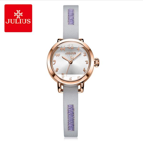 Julius Lady Classic Leather Watch Woman Simple Digital Round Waterproof Quartz Wrist Watchhes Dress Montre Femme Gifts