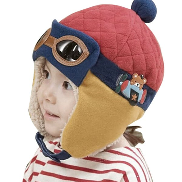 cap for Pilot Hat Toddlers Kids Cool Aviator Winter Warm Cap for Baby Boy Girl Infant Ear Flap Soft Hat Beanies