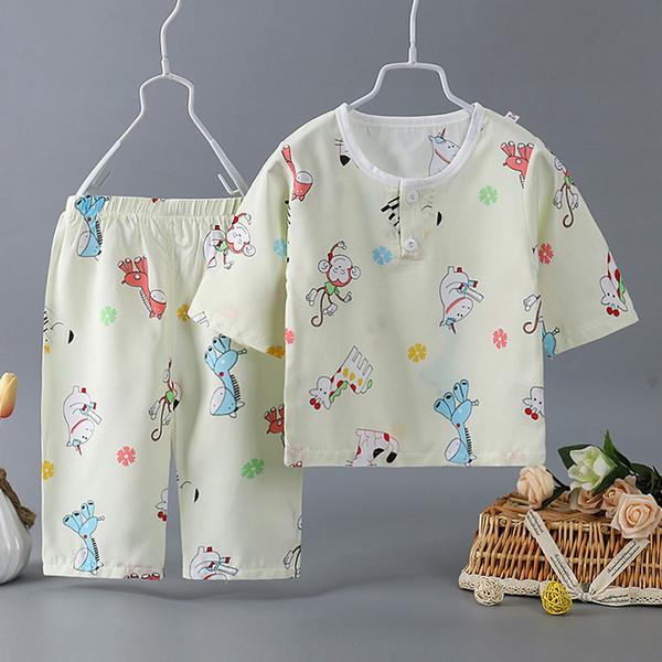 Otoño Primavera Niños Pijamas Siete cuartos de manga Algodón Niños ropa de dormir Traje Niñas lindas linda Paño de casa bebé navidad
